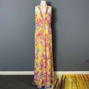 Escada Yellow Pink Silk Floral Halter Maxi Dress